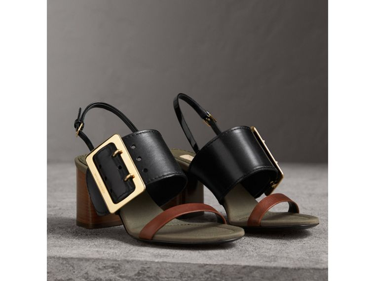 Buckle Detail Leather Sandals in Black - Women | Burberry - cell image 4