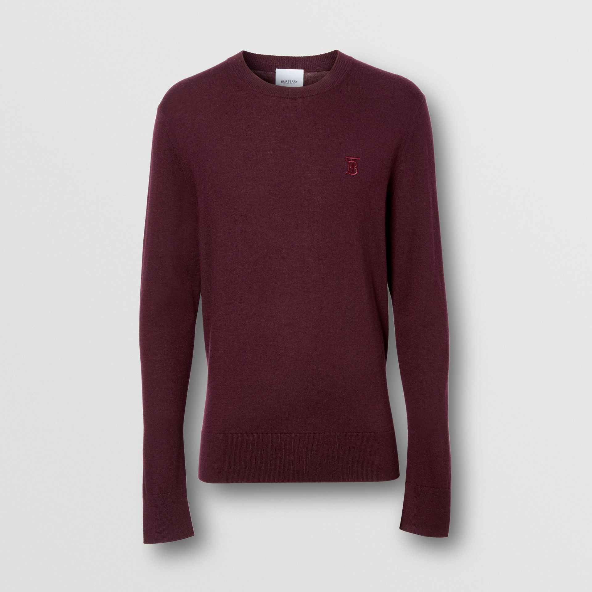 Monogram Motif Cashmere Sweater in Burgundy - Men | Burberry - gallery image 3