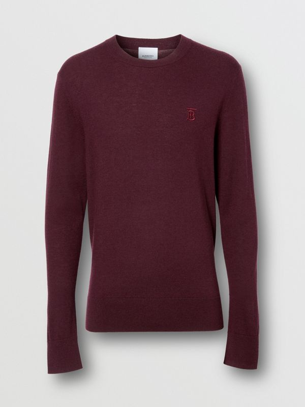 Monogram Motif Cashmere Sweater in Burgundy - Men | Burberry - cell image 3