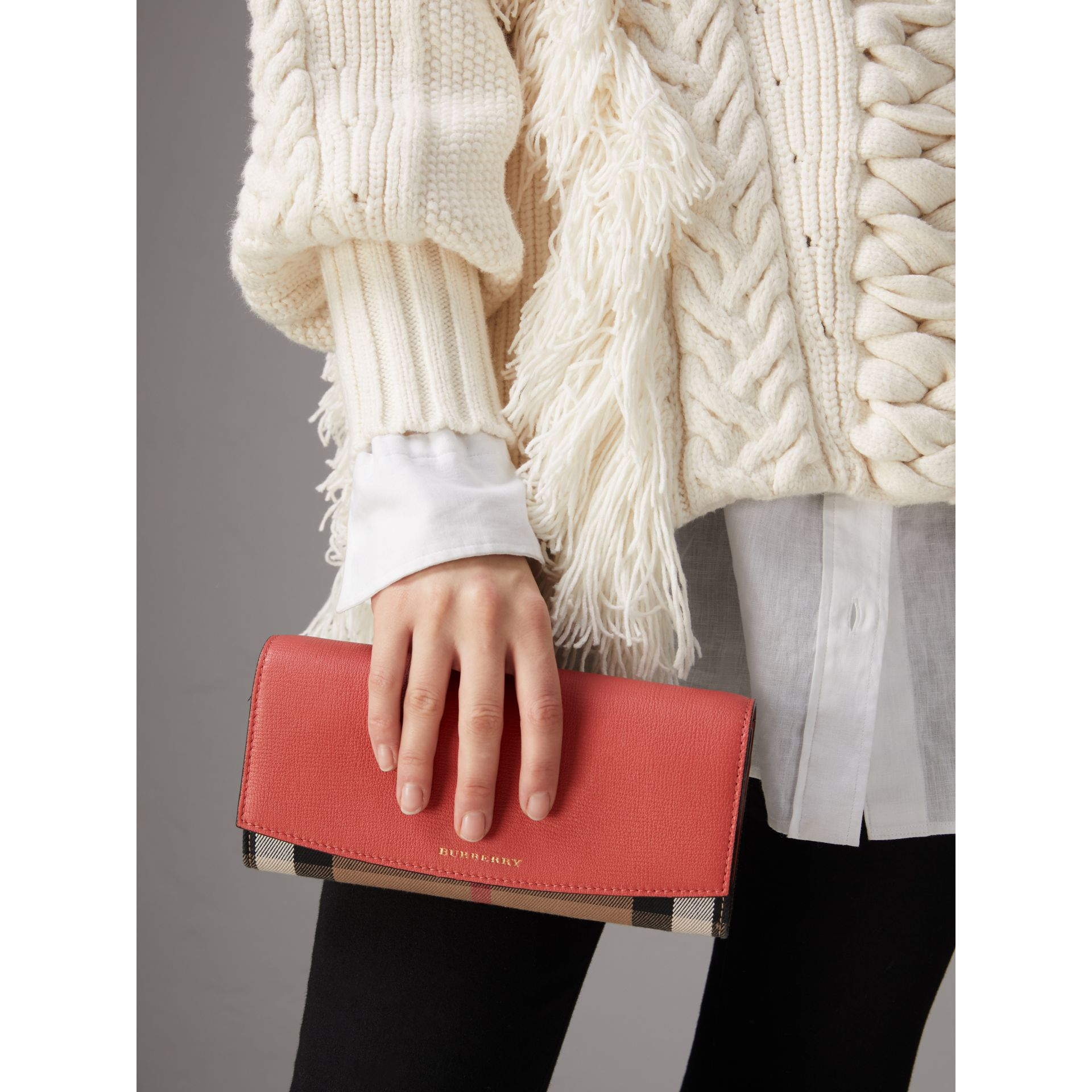 House Check and Leather Wallet with Chain in Cinnamon Red - Women | Burberry - gallery image 3