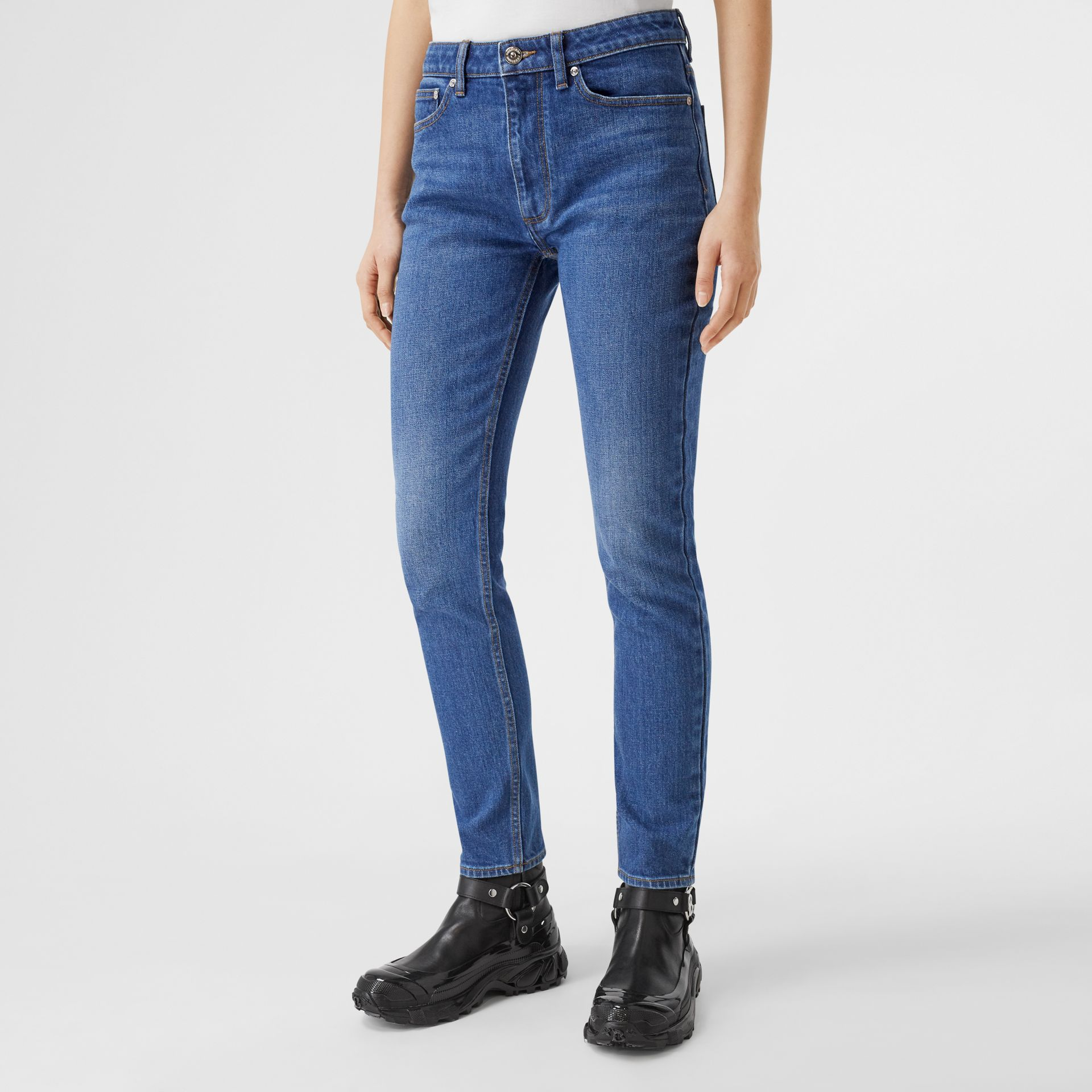 Straight Fit Japanese Stretch Denim Jeans in Indigo - Women | Burberry Hong Kong S.A.R - gallery image 4