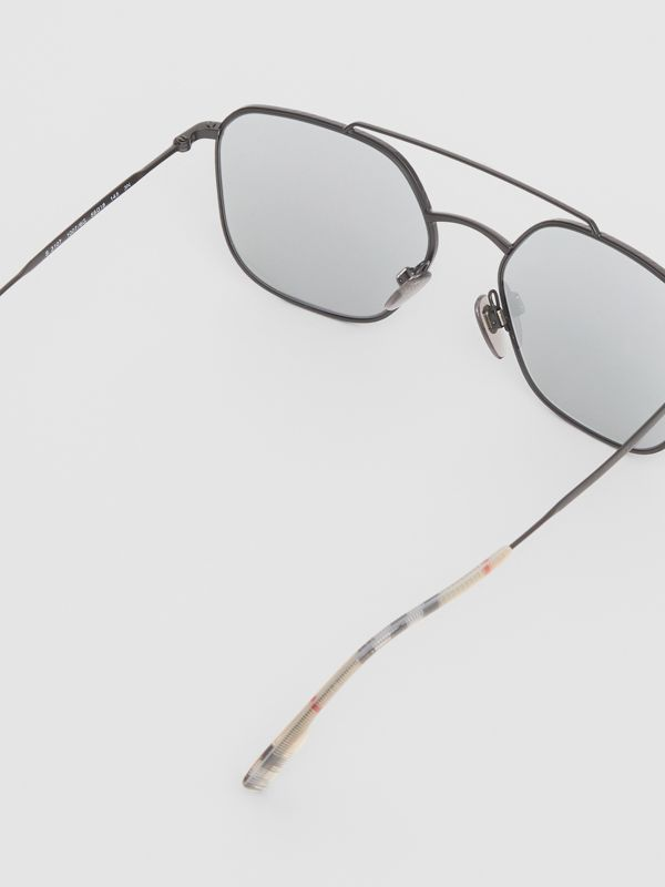 Top Bar Detail Square Pilot Sunglasses in Matt Black - Men | Burberry - cell image 3