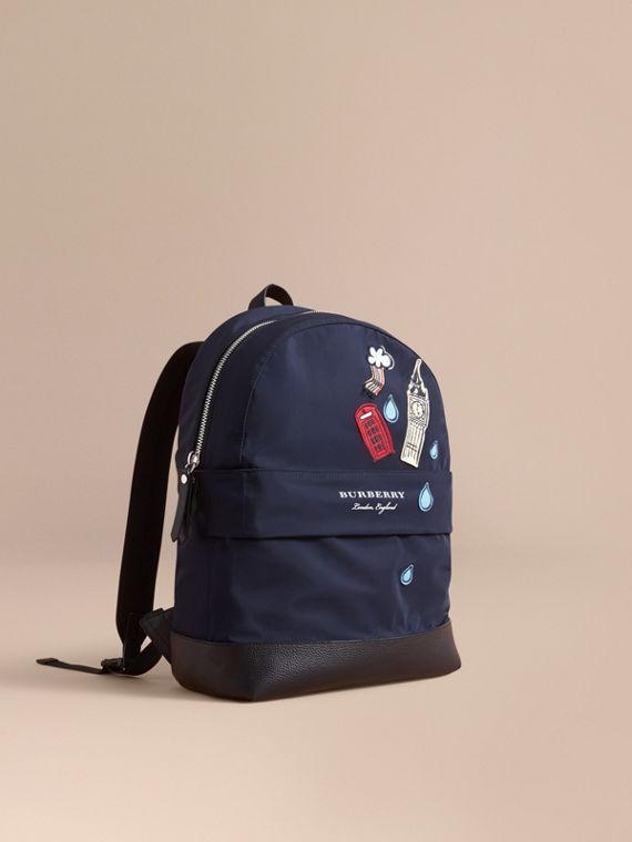 London Icons Appliqué Lightweight Mini Backpack in Ink
