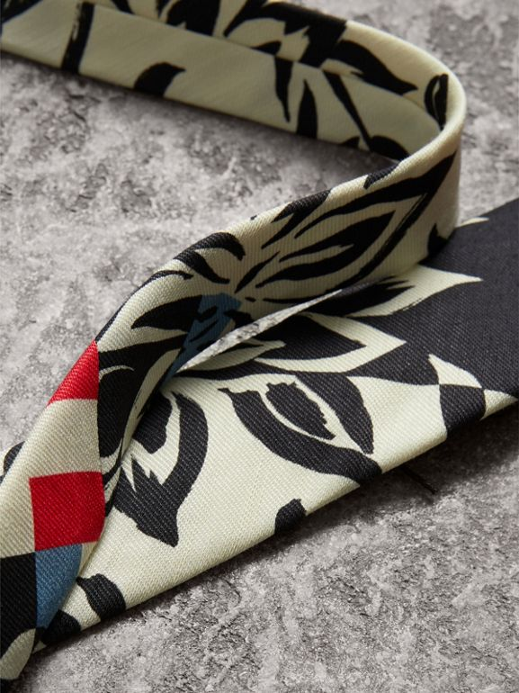 Slim Cut Floral Stripe Print Linen Silk Tie in Bright Red - Men | Burberry - cell image 1