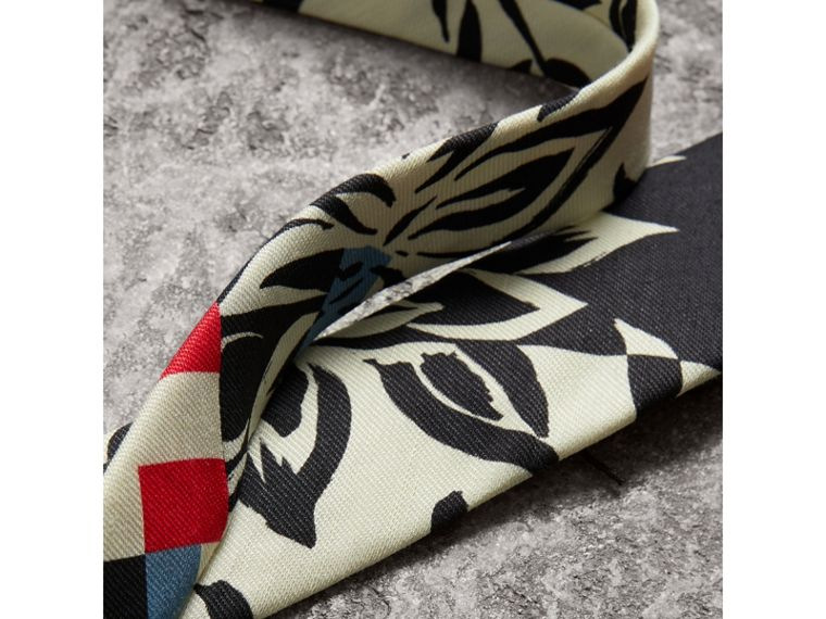 Slim Cut Floral Stripe Print Linen Silk Tie in Bright Red - Men | Burberry United States - cell image 1