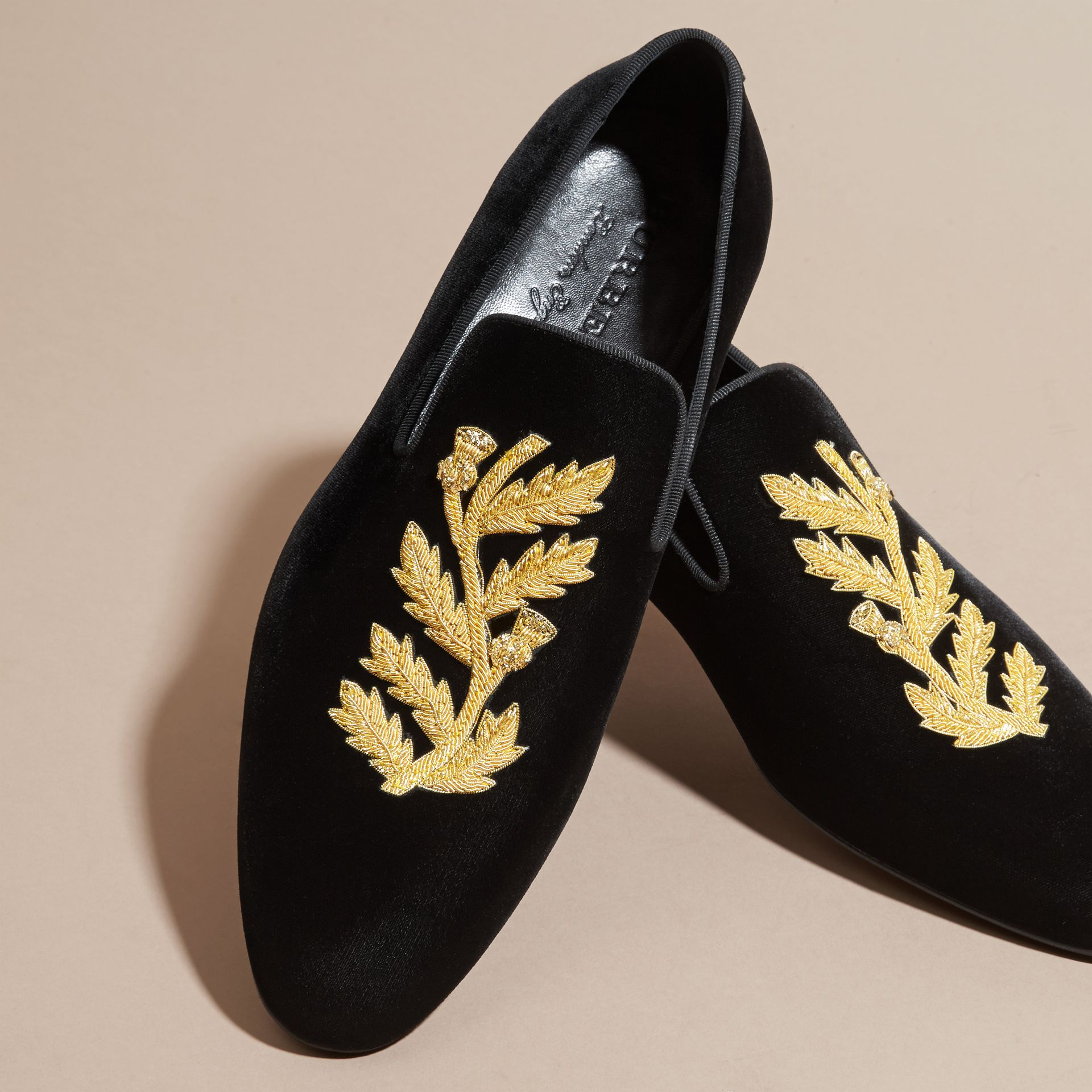 Black Embroidered Velvet Loafers - gallery image 2