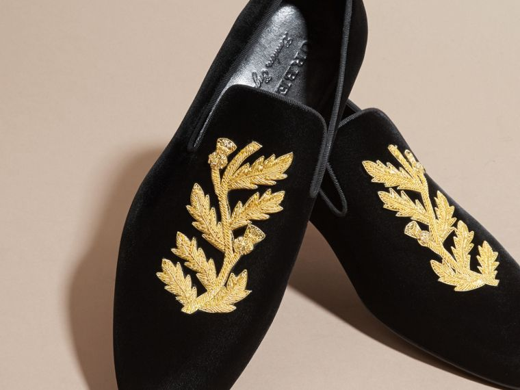 Black Embroidered Velvet Loafers - cell image 1