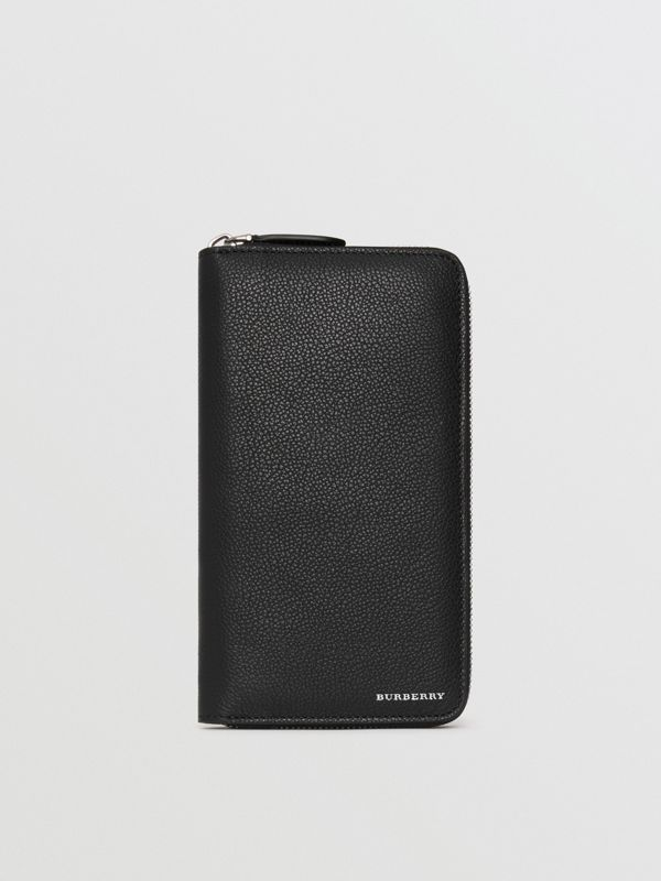 Grainy Leather Ziparound Wallet in Black - Men | Burberry Singapore - cell image 2