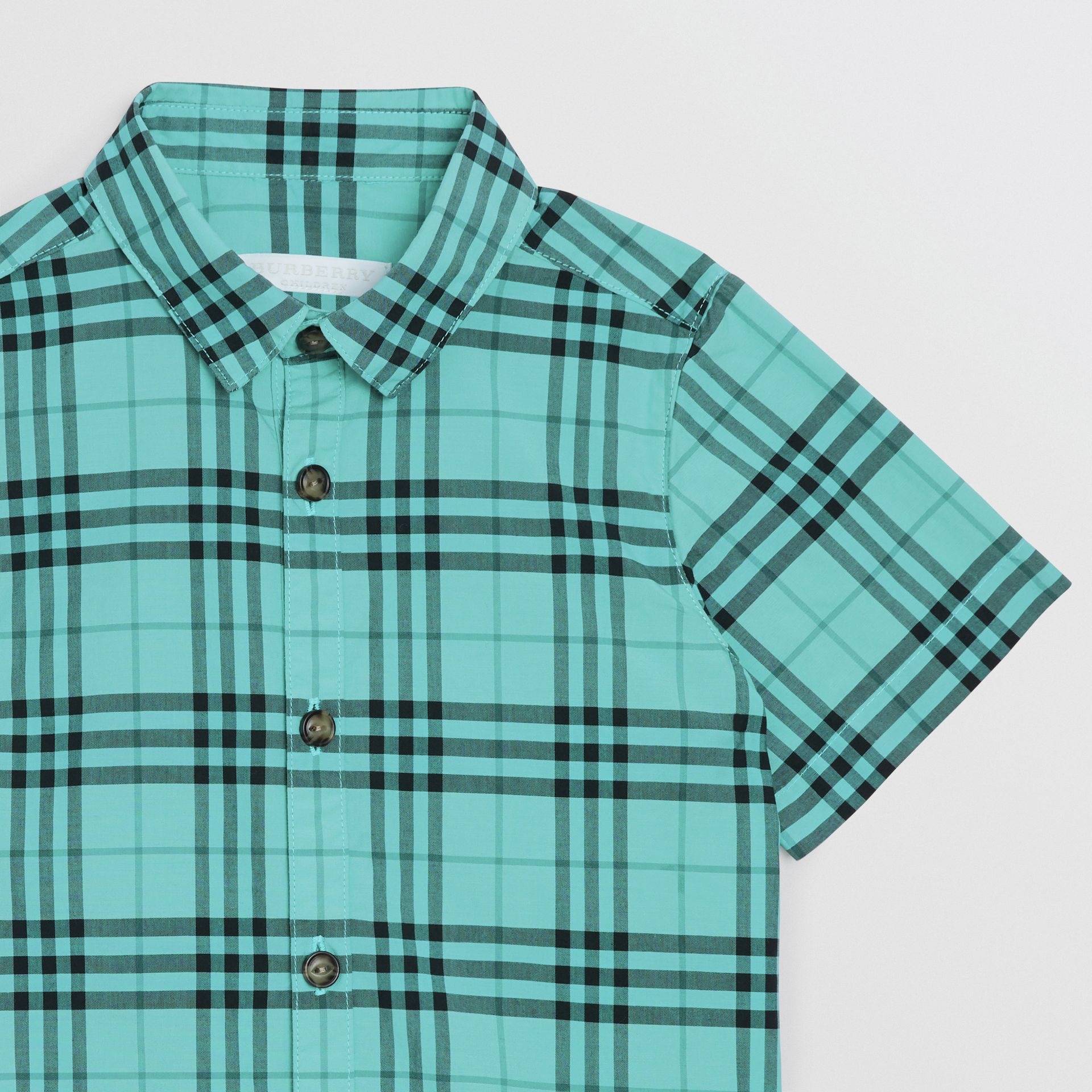 Short-sleeve Check Cotton Shirt in Light Mint | Burberry - gallery image 4