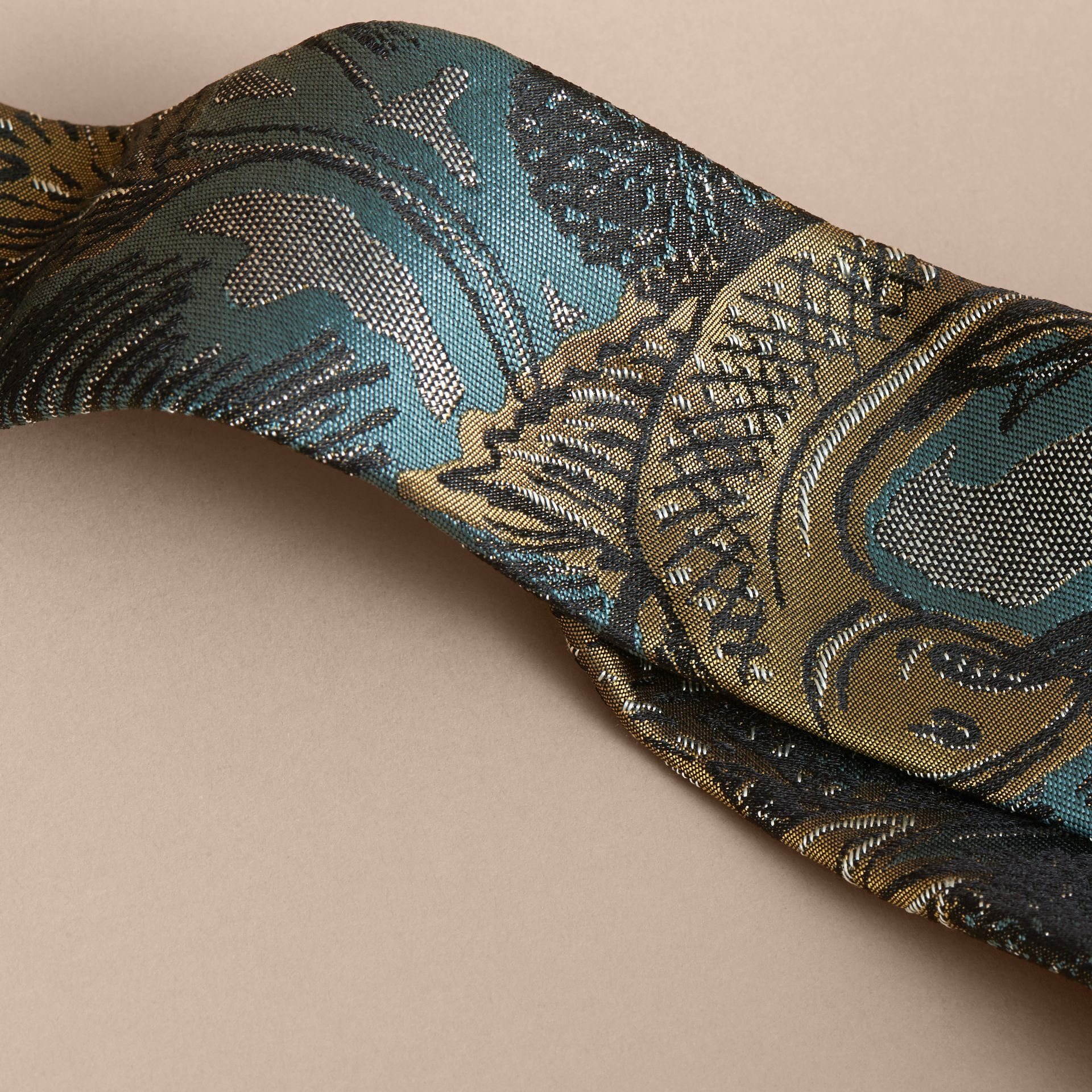 Slim Cut Beasts Jacquard Silk Tie in Sage Green - gallery image 2