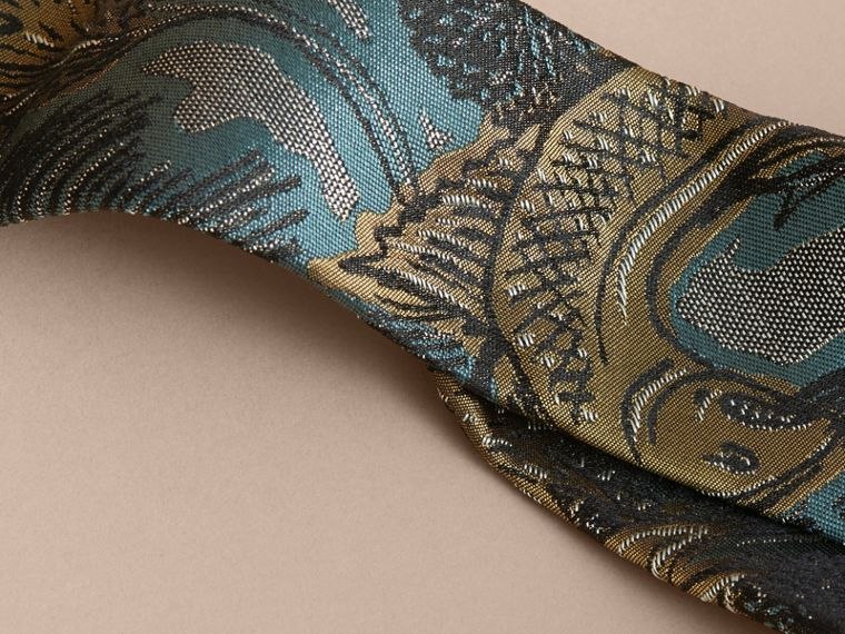 Slim Cut Beasts Jacquard Silk Tie in Sage Green - cell image 1