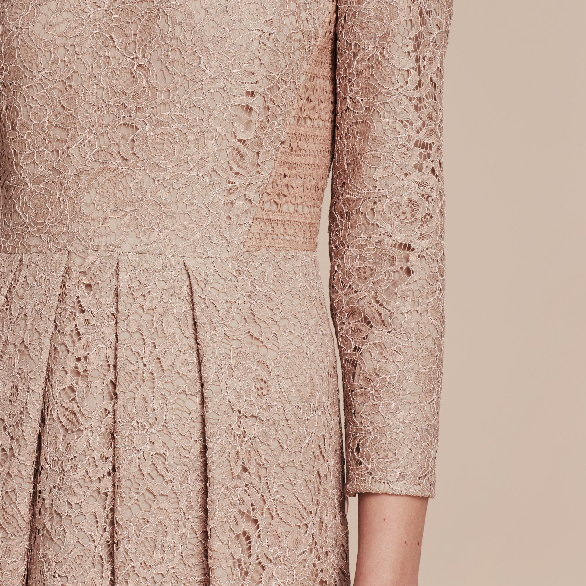 Antique taupe pink Italian Lace Dress - gallery image 5