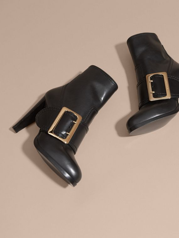 Black Buckle Detail Leather Platform Boots - cell image 2