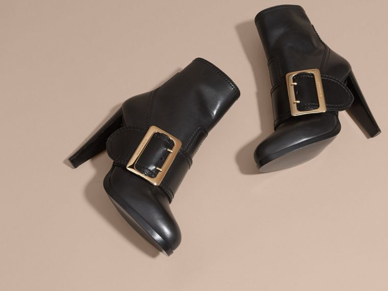 Buckle Detail Leather Platform Boots