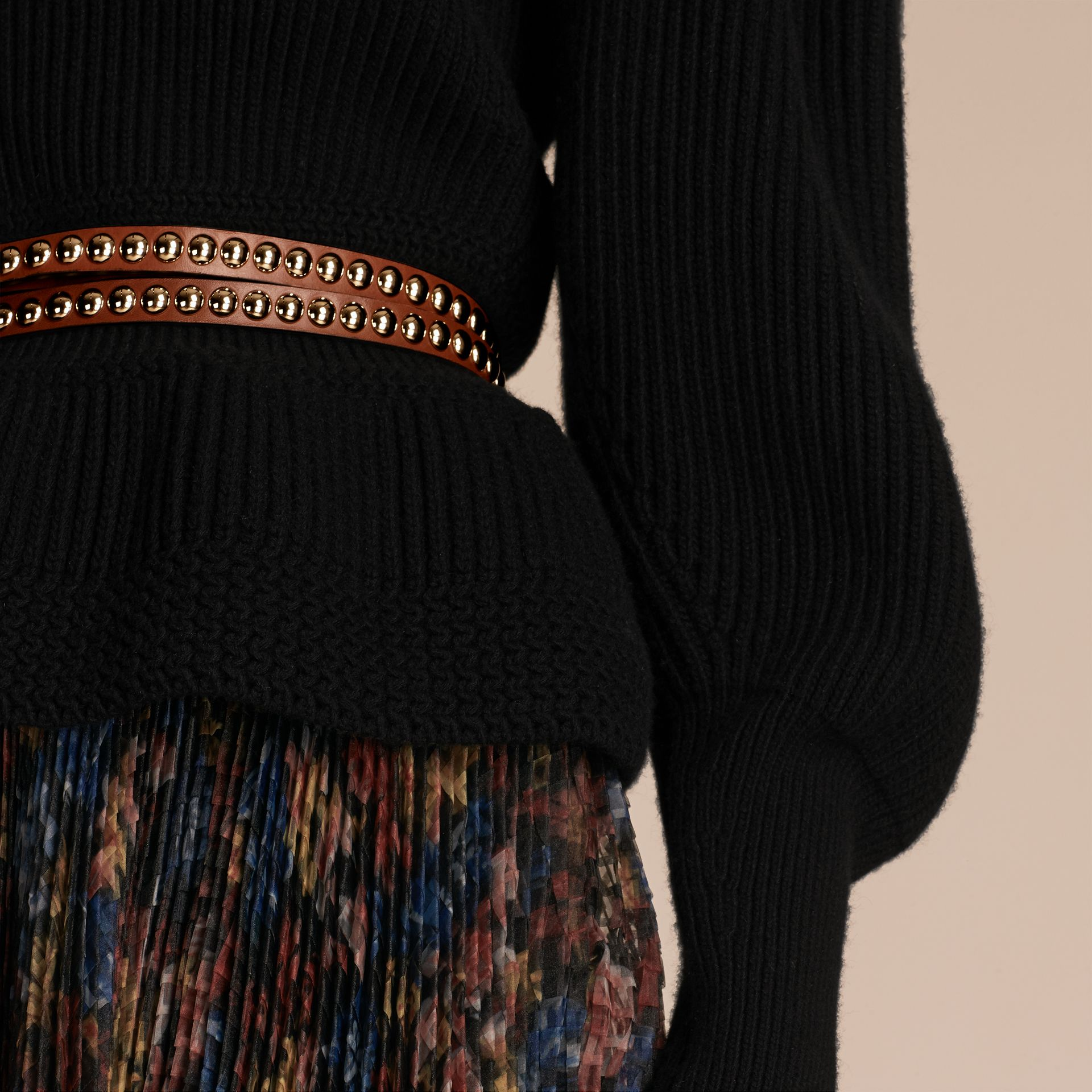 Black Multi-stitch Wool Cashmere Sweater - gallery image 5