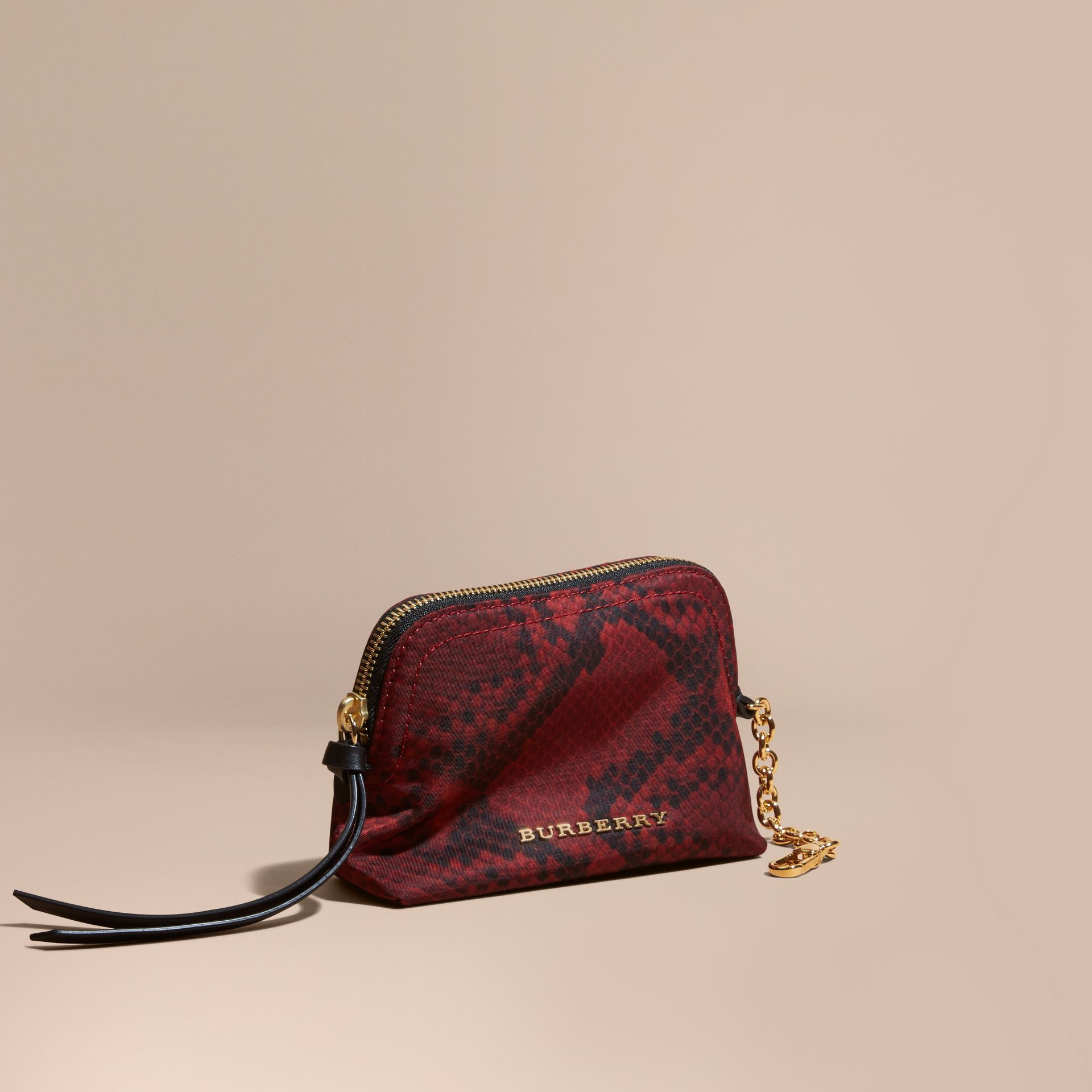 Small Zip-top Python-print Technical Nylon Pouch Burgundy Red - gallery image 1