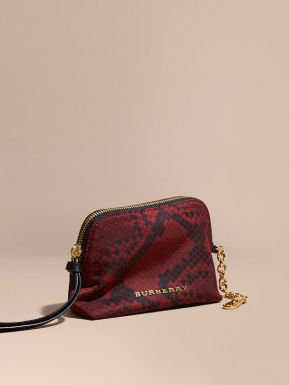 Small Zip-top Python-print Technical Nylon Pouch Burgundy Red