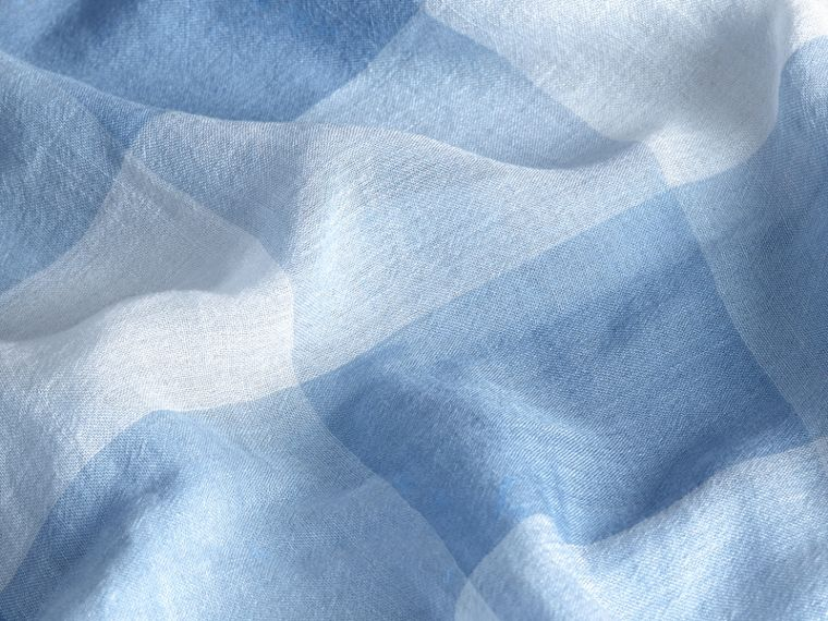 Check Modal Cashmere and Silk Scarf in Pale Blue - cell image 1