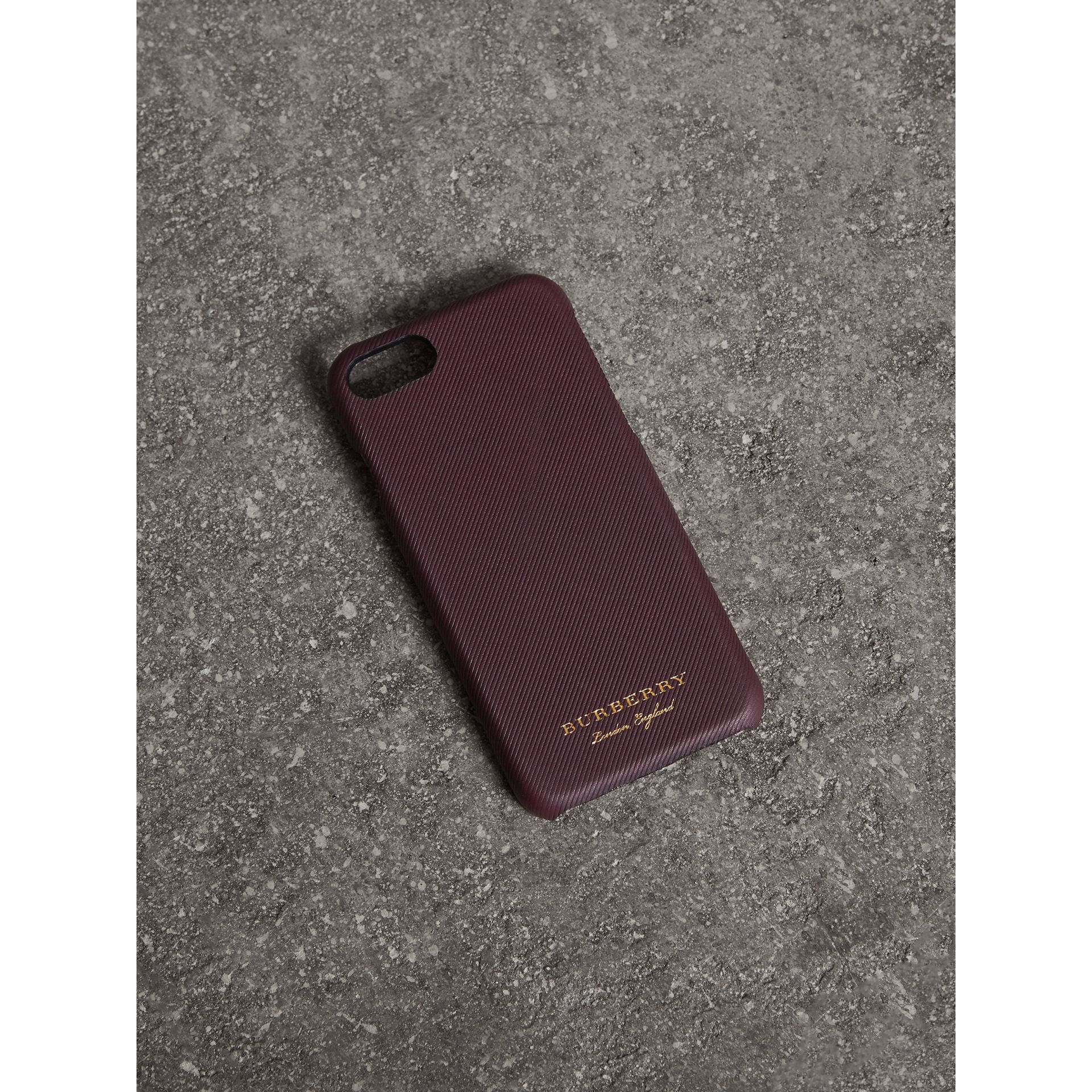 Trench Leather iPhone 7 Case in Wine | Burberry Australia - gallery image 1