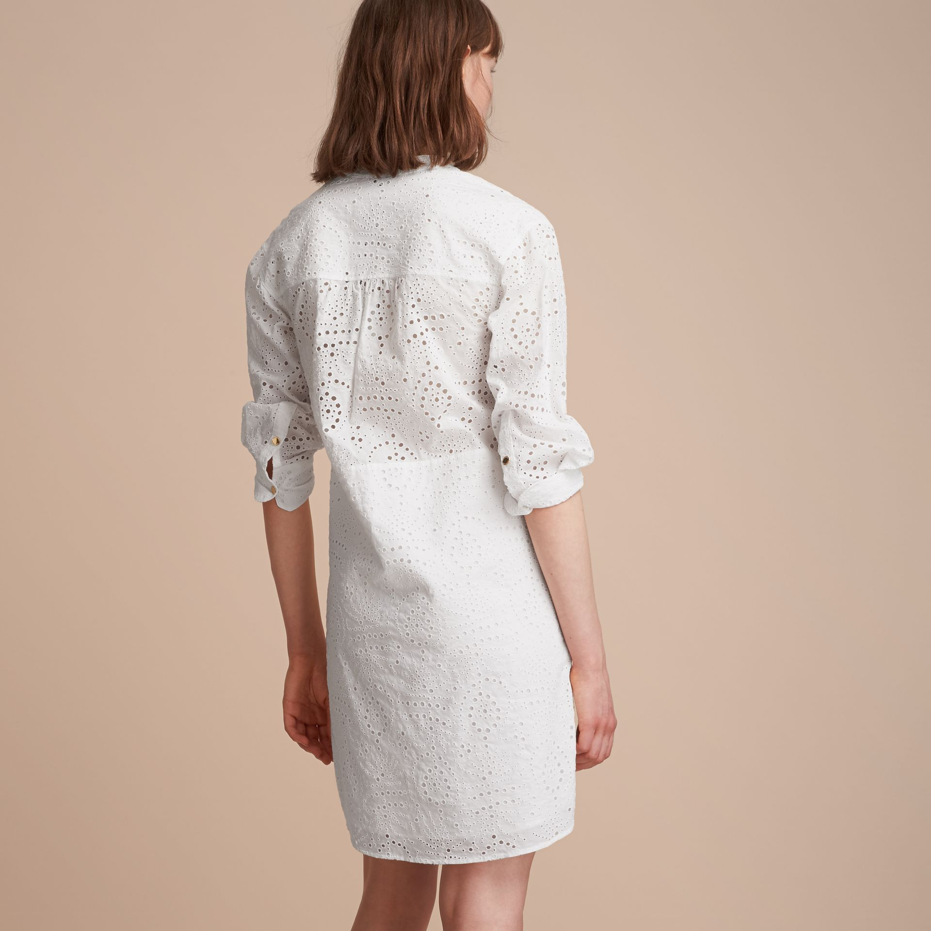 Collarless Broderie Anglaise Shirt Dress - gallery image 3