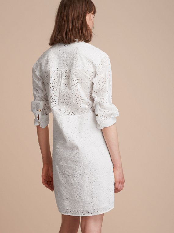 Collarless Broderie Anglaise Shirt Dress - cell image 2