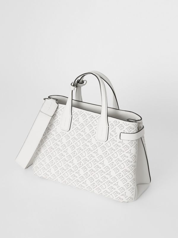 The Medium Banner in Perforated Logo Leather in Chalk White - Women | Burberry - cell image 2