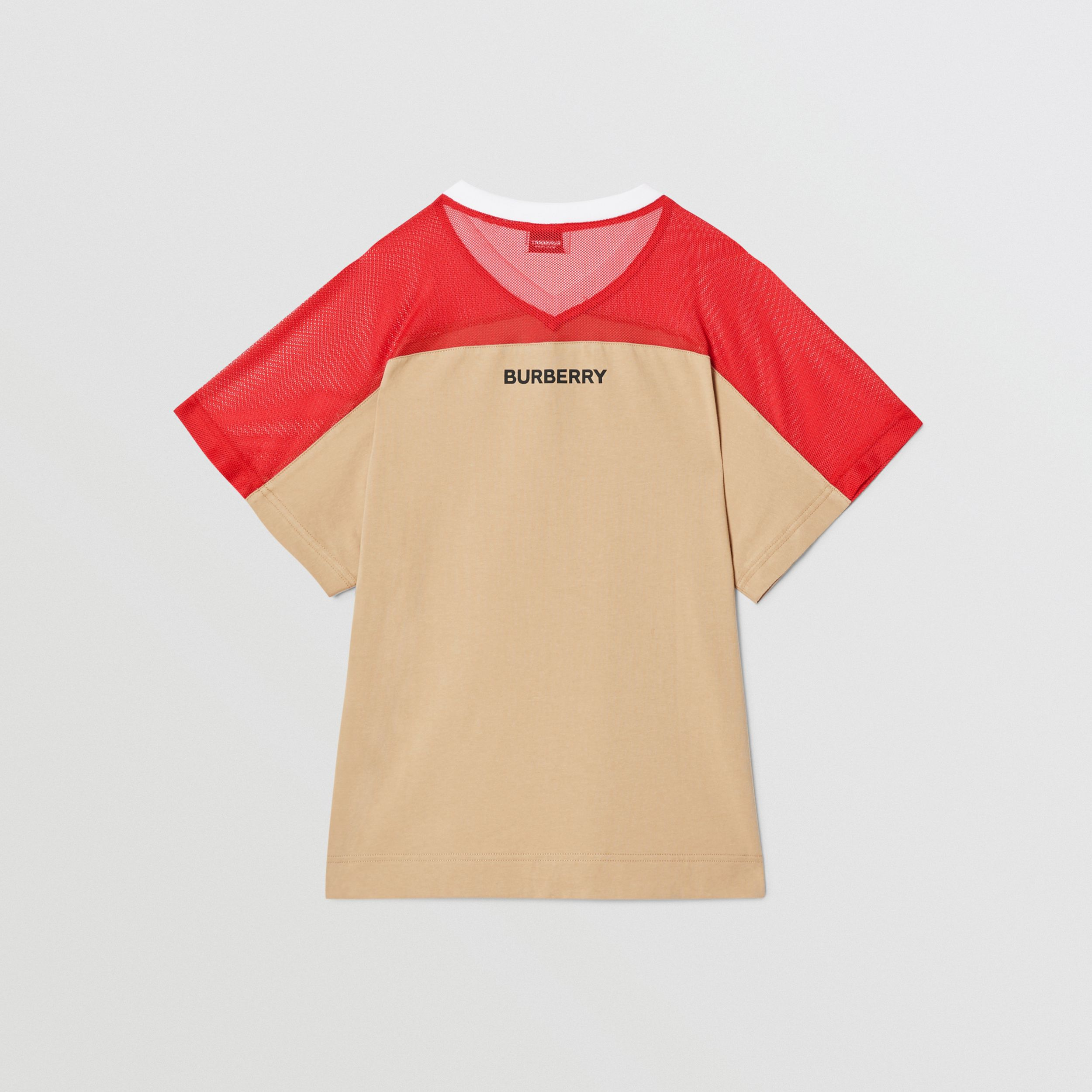 Mesh Panel Kingdom Print Cotton T-shirt in Bright Red | Burberry - 3