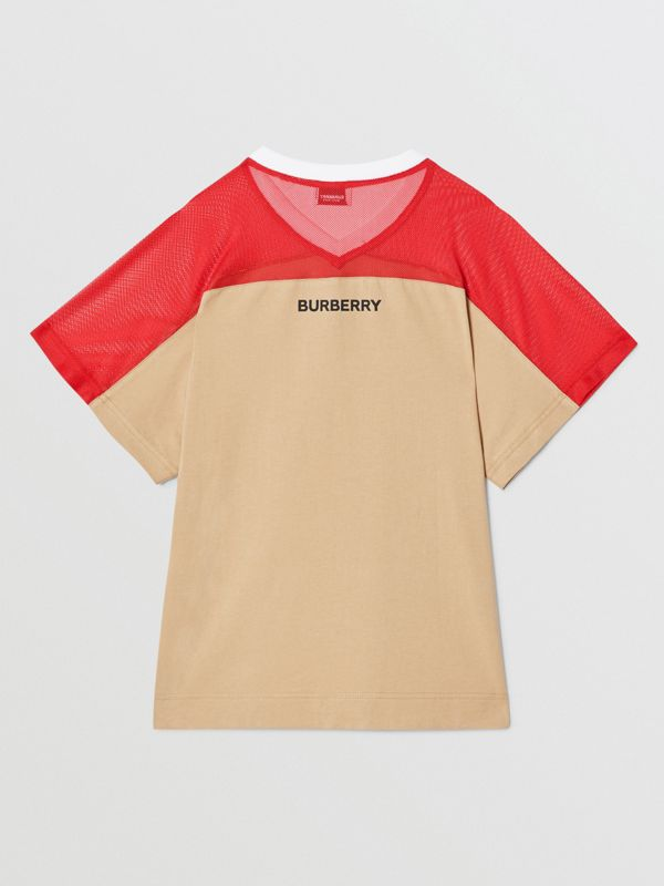 Mesh Panel Kingdom Print Cotton T-shirt in Bright Red | Burberry Canada - cell image 2