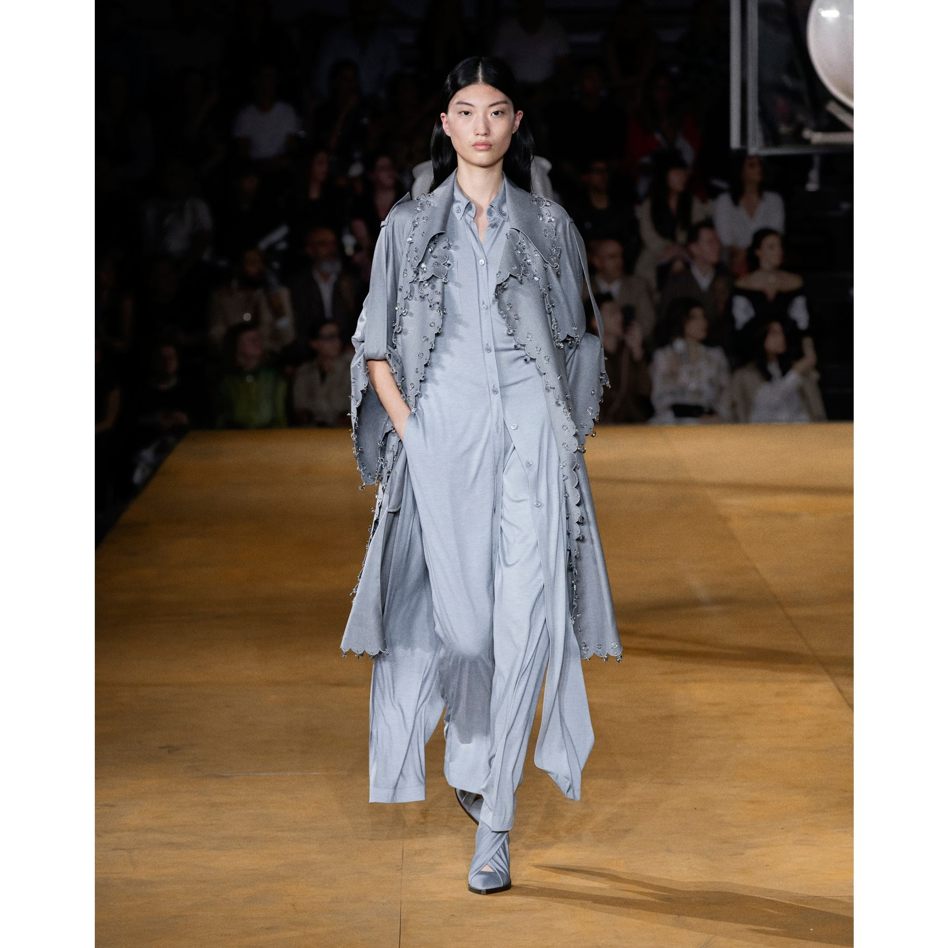 Crystal Ring-pierced Wool Reconstructed Trench Coat in Cloud Grey - Women | Burberry - gallery image 8