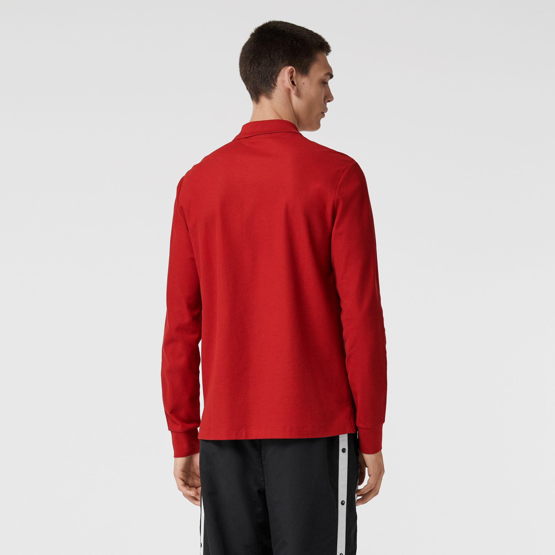 Long-sleeve Archive Logo Cotton Piqué Polo Shirt in Poppy Red - Men | Burberry - gallery image 2
