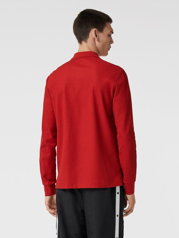 Long-sleeve Archive Logo Cotton Piqué Polo Shirt in Poppy Red - Men | Burberry Australia - cell image 2