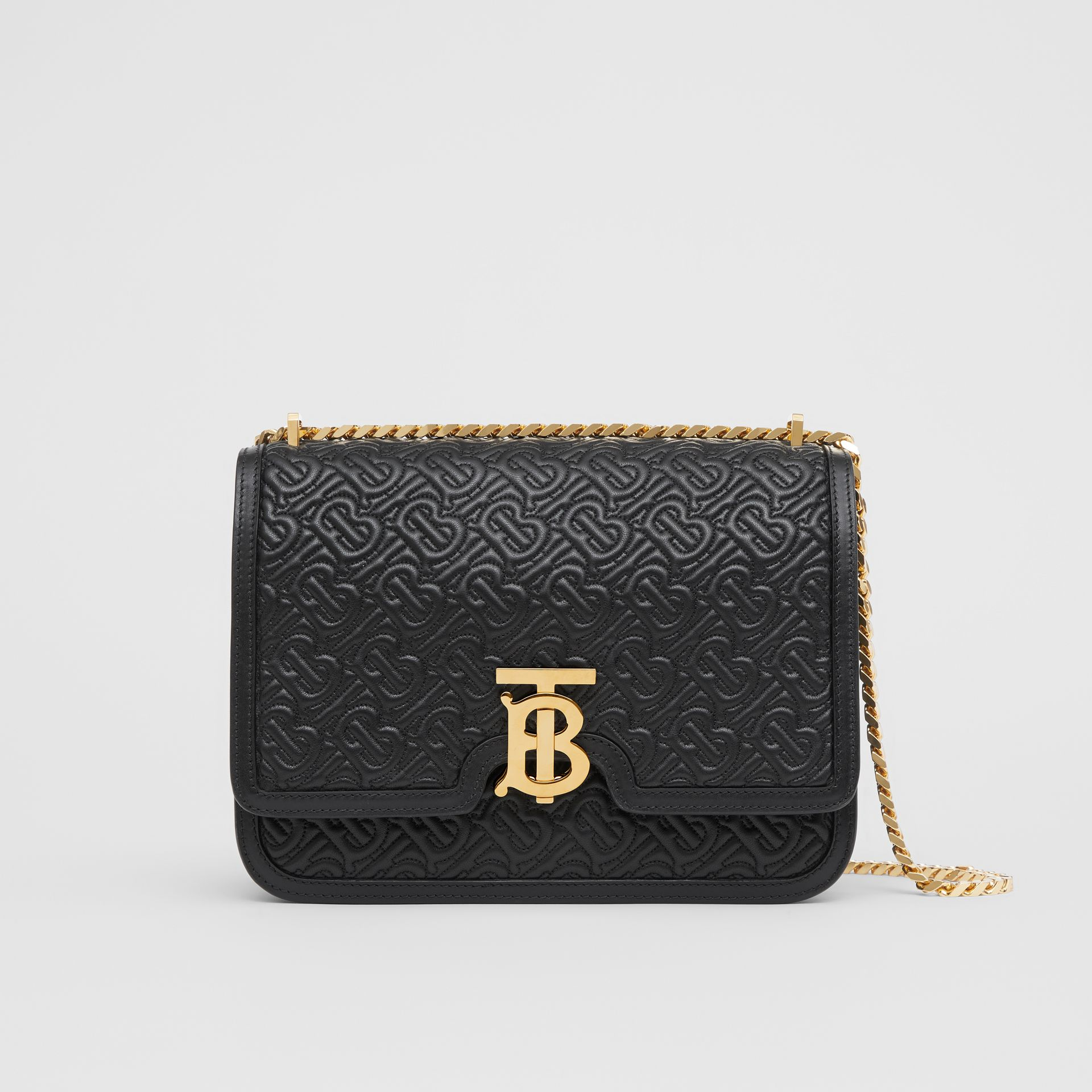 Medium Quilted Monogram Lambskin TB Bag in Black - Women | Burberry Singapore - gallery image 0