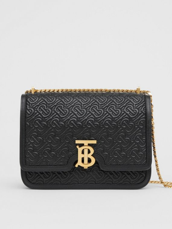 54856ec54ee4 Medium Quilted Monogram Lambskin TB Bag in Black