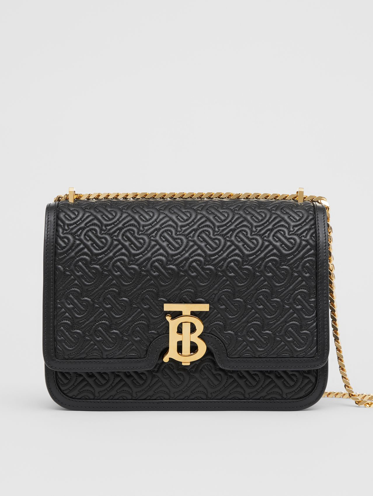 Medium Quilted Monogram Lambskin TB Bag in Black