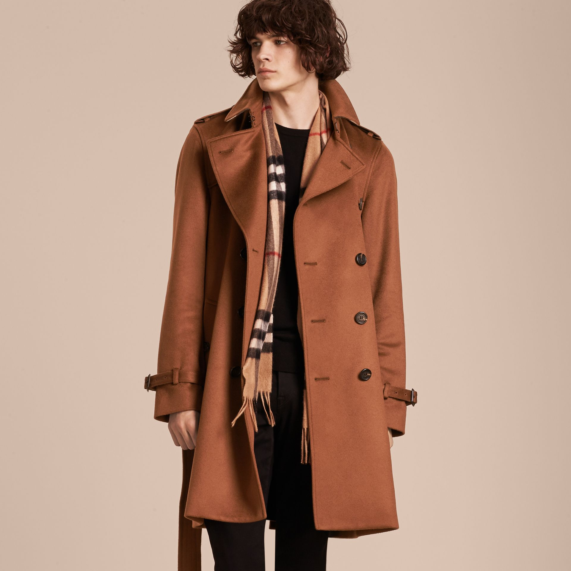 Umber brown Cashmere Trench Coat Umber Brown - gallery image 7
