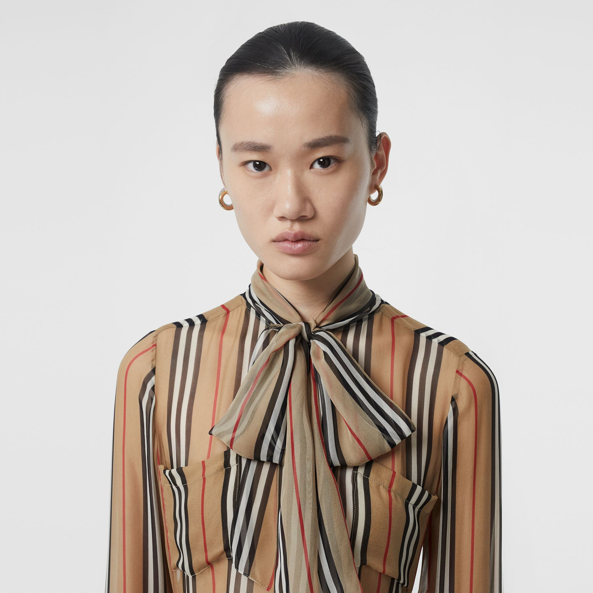 Heritage Stripe Silk Pussy-bow Blouse in Antique Yellow - Women | Burberry - gallery image 1