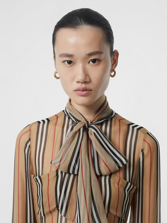 Heritage Stripe Silk Pussy-bow Blouse in Antique Yellow - Women | Burberry - cell image 1