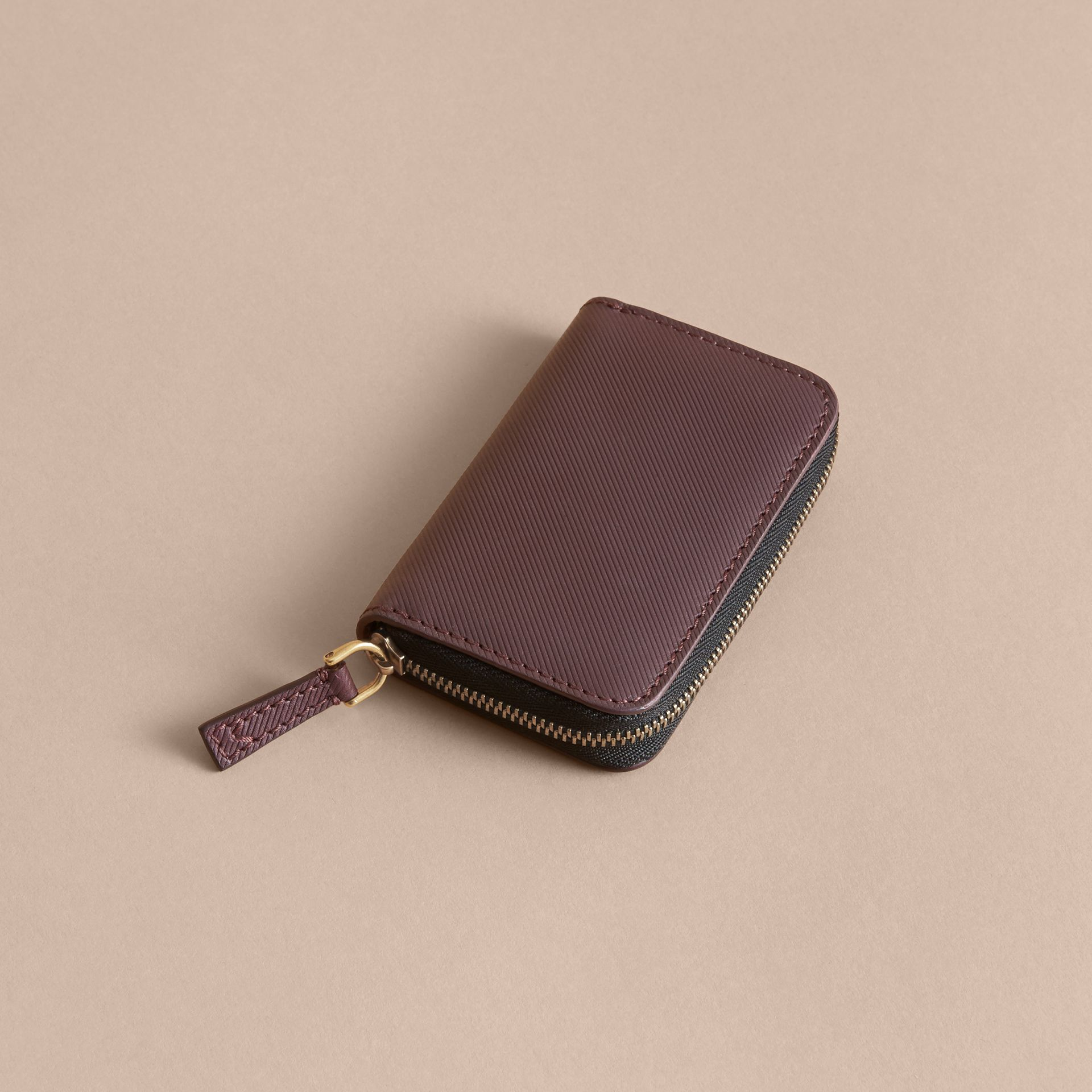 Trench Leather Ziparound Coin Case Wine - gallery image 3