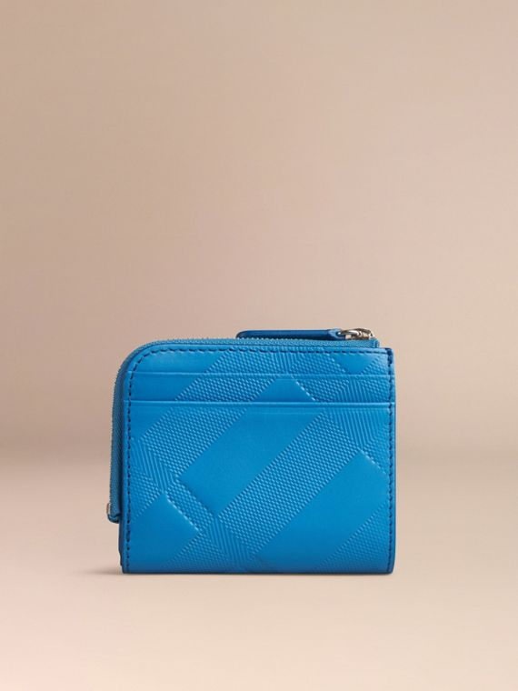 Лазурно-голубой Складной бумажник из кожи с тиснением в клетку Лазурно-голубой - cell image 3