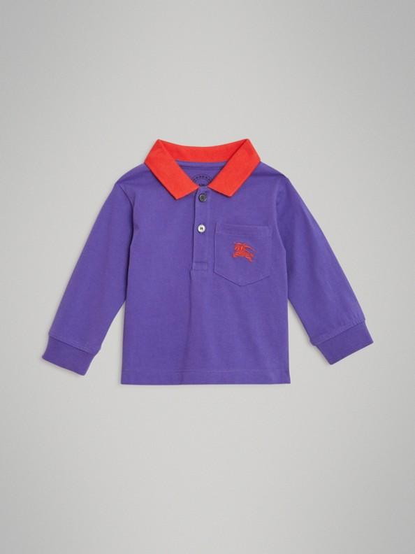 Polo a maniche lunghe in cotone con logo d'archivio (Blu Zaffiro Intenso)