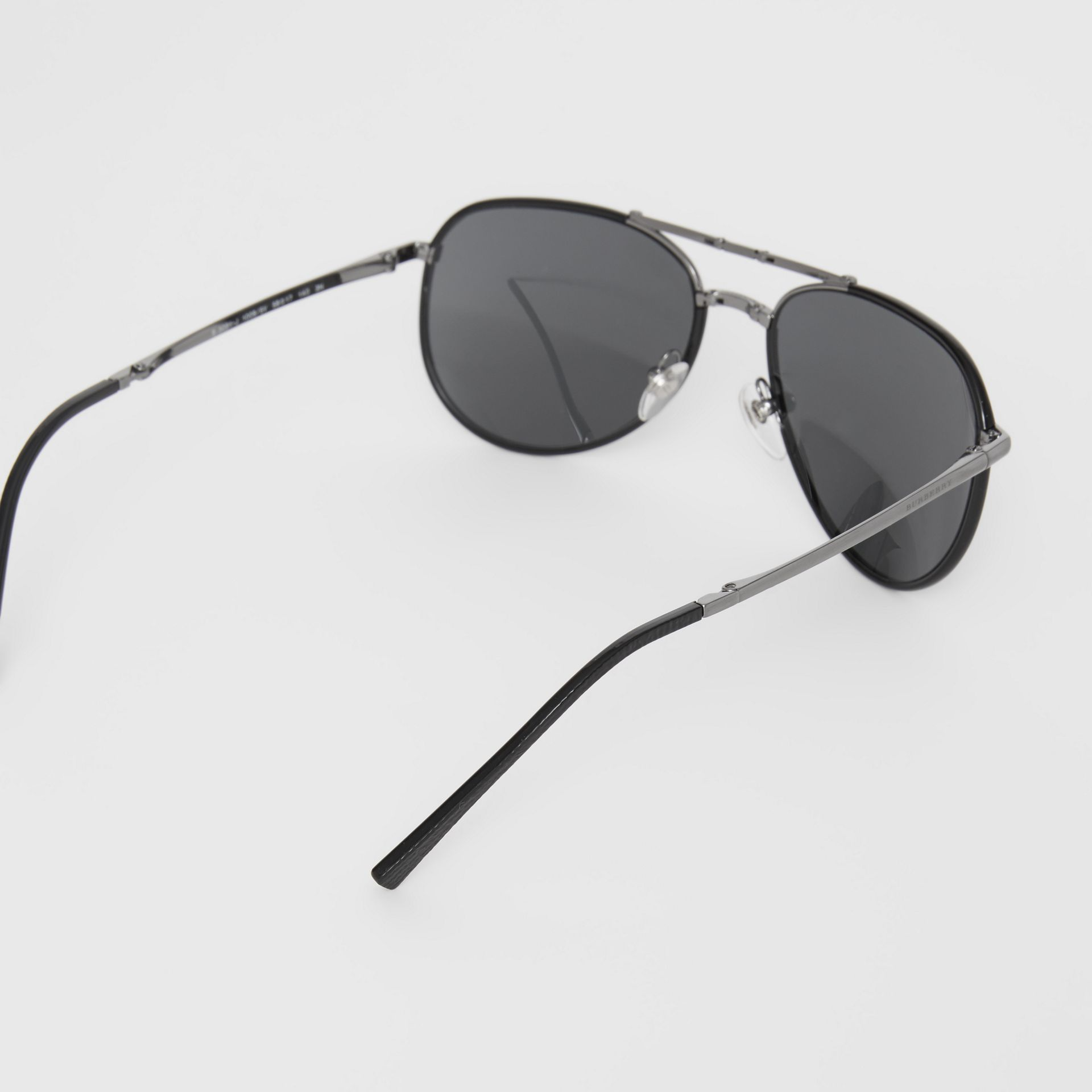 Folding Pilot Sunglasses in Black - Men | Burberry Australia - gallery image 4