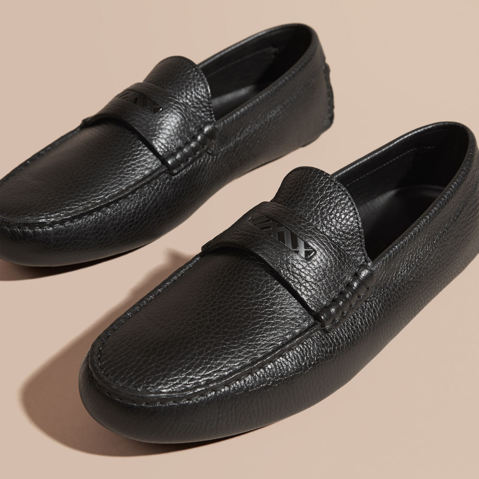Black Grainy Leather Loafers with Engraved Check Detail Black - gallery image 3
