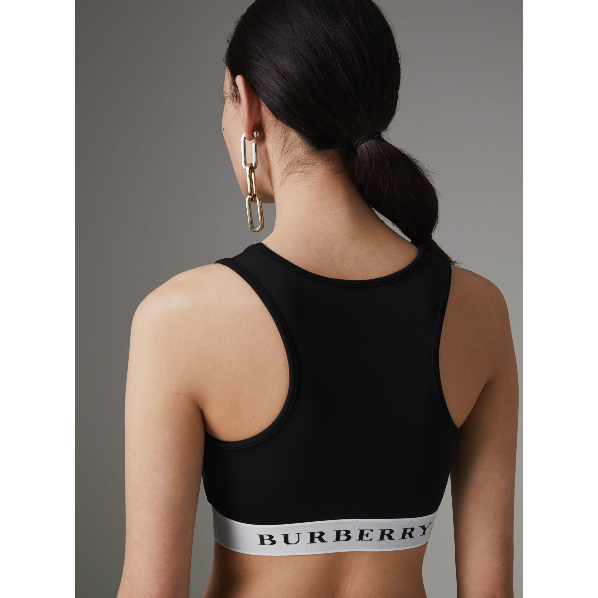 Logo Stretch Jersey Bra Top in Black - Women | Burberry - gallery image 2