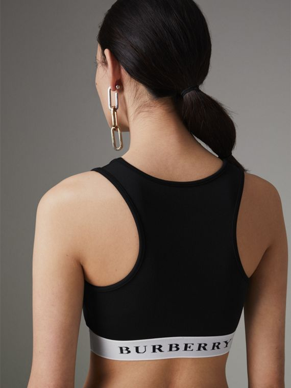 Logo Stretch Jersey Bra Top in Black - Women | Burberry - cell image 2