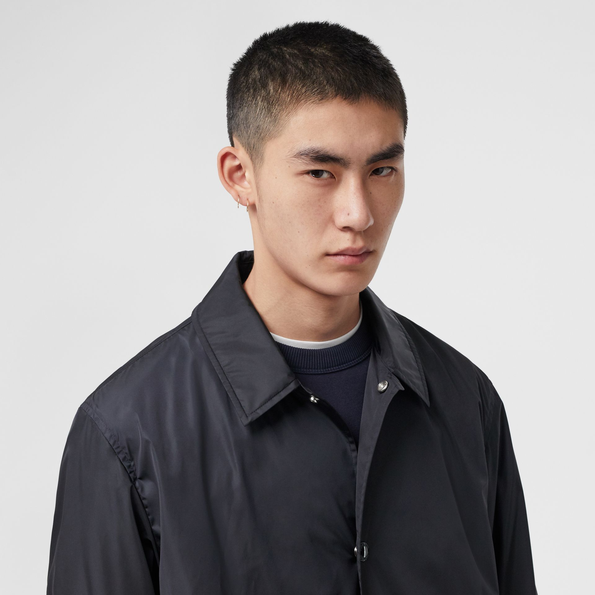 Detachable Hood Nylon Car Coat in Navy - Men | Burberry - gallery image 1
