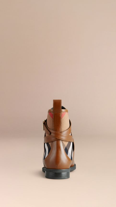 Chestnut House Check Leather Ankle Boots Chestnut - Image 4