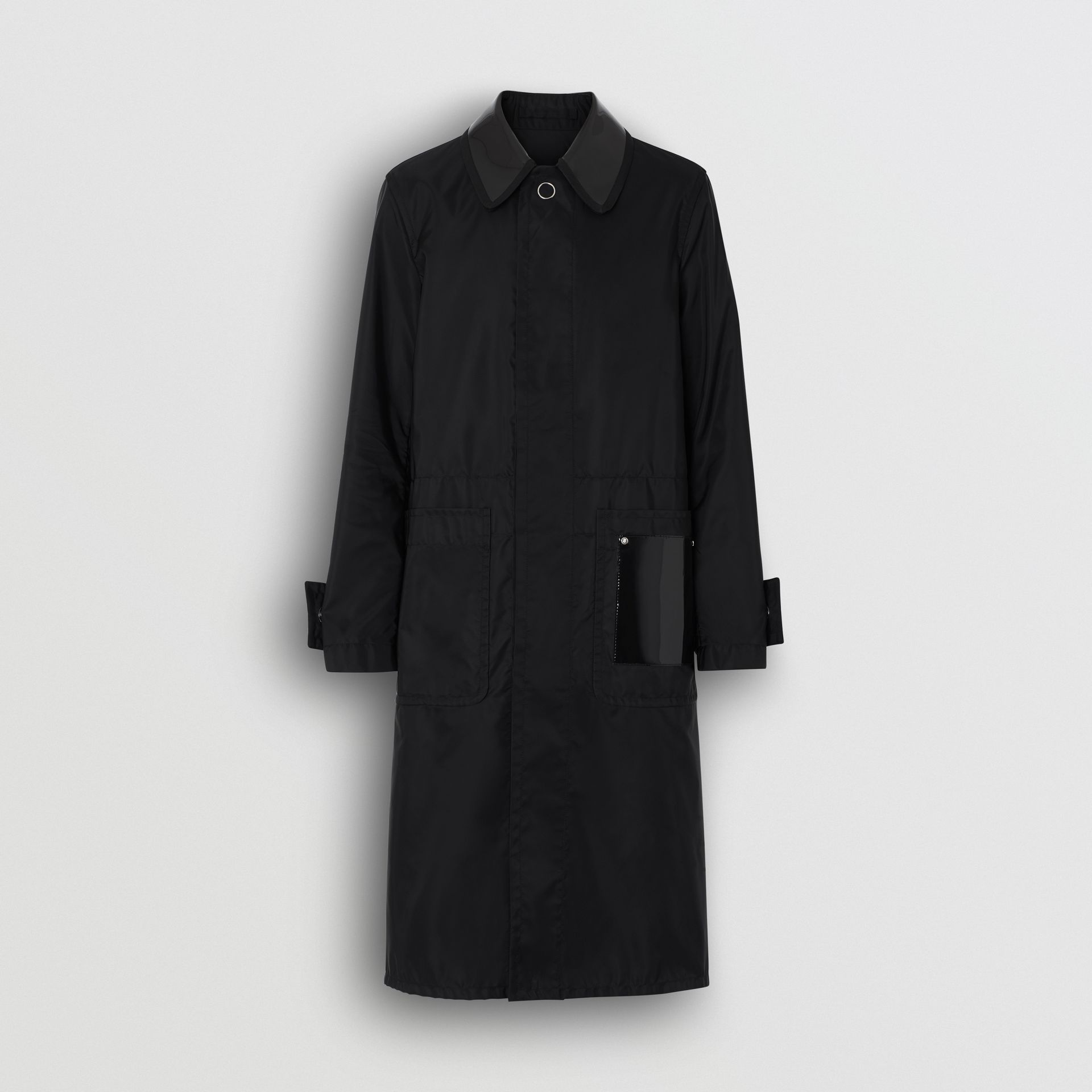 Double Collar Nylon Car Coat in Black | Burberry - gallery image 3