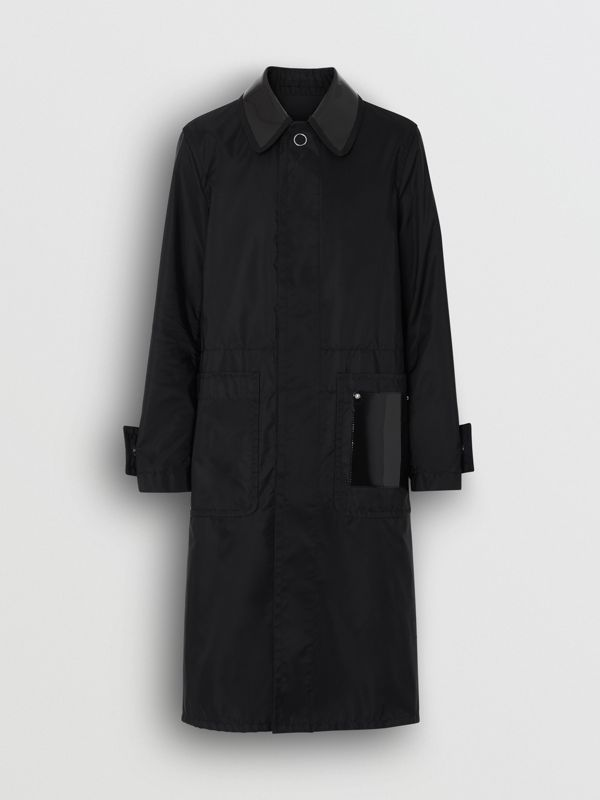 Double Collar Nylon Car Coat in Black | Burberry - cell image 3