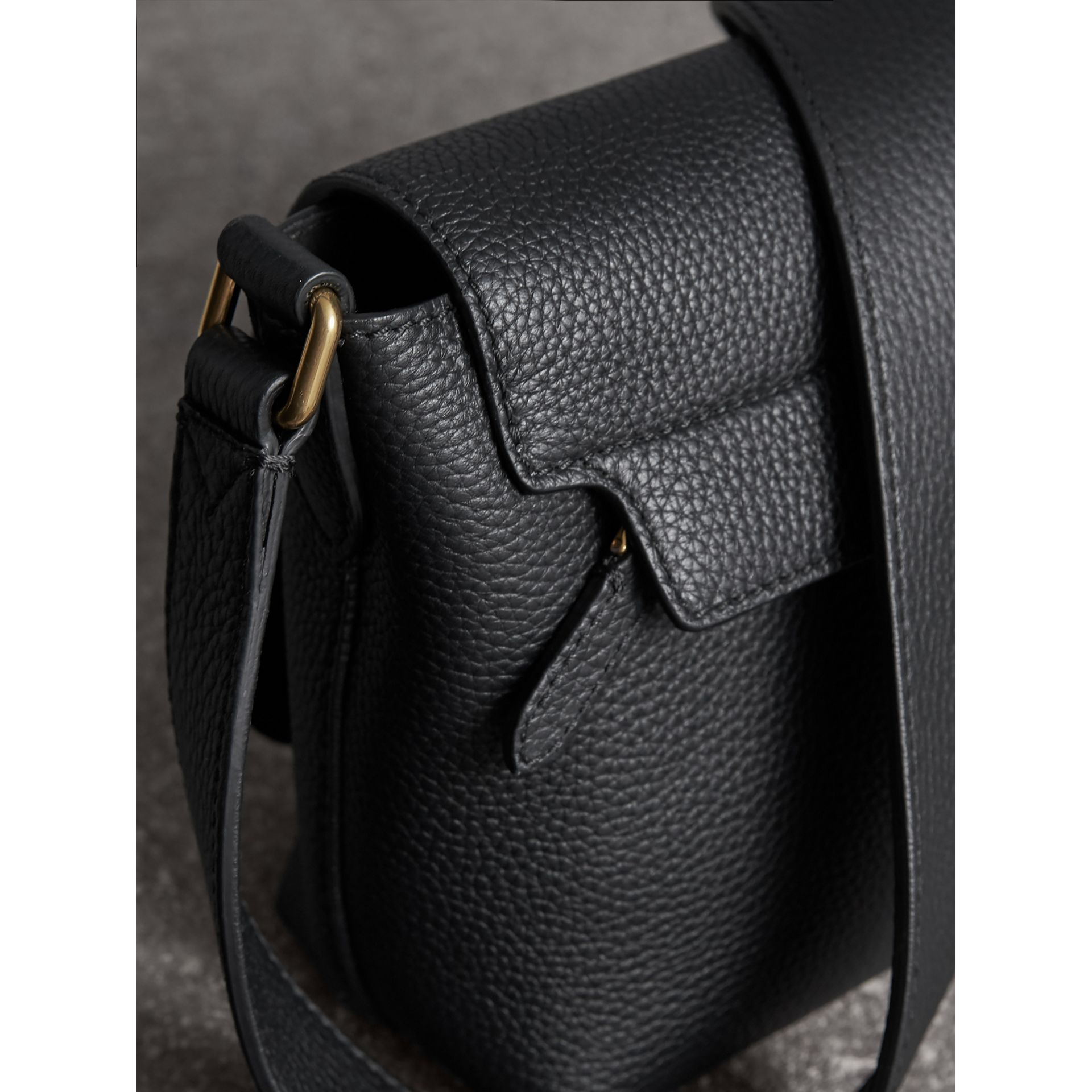 Small Embossed Leather Messenger Bag in Black | Burberry - gallery image 1