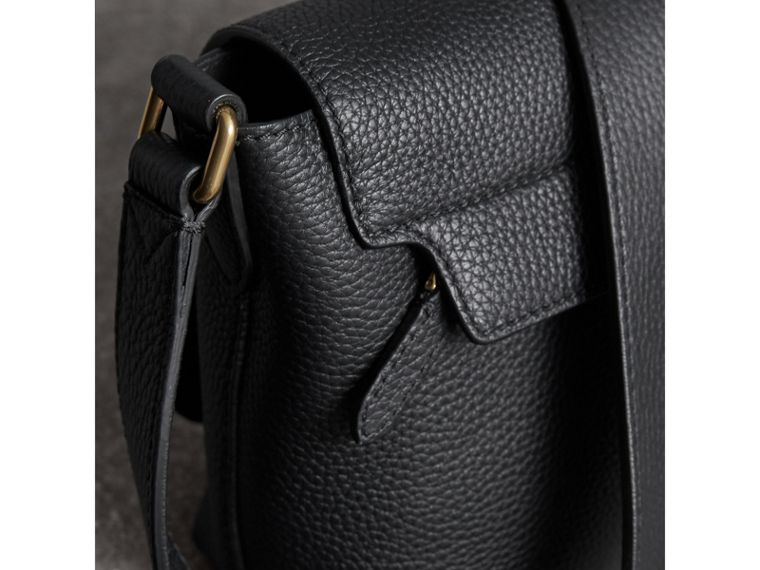 Small Embossed Leather Messenger Bag in Black | Burberry - cell image 1